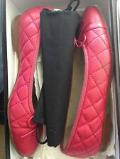 Chanel red quilted lambskin ballerina flat 37/6.5