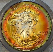 1999 ASE PCGS MS 67 Rainbow Tone Colors - Two Sides - Colorful Toning~
