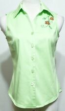 Studio I Ladies Lime Green Beaded Sleeveless Button Front Shirt - Size 6