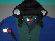 VTG Tommy Hilfiger Blue Green Black 1/4 Zip Hooded Windbreaker Jacket Mens XL