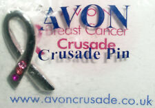 AVON SILVER PLATED PINK STONE BREAST CANCER CRUSADE PIN (New/Sld)