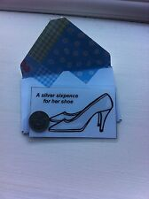 Wedding - Silver Sixpence For Her Shoe - Mini Laminated Card & Envelope - Bride