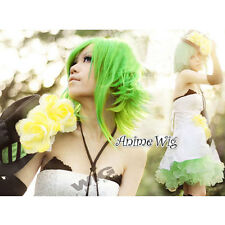 Vocaloid Gumi Megpoid Green Men Boy Anime Cosplay Medium Layered Style Hair Wig