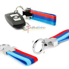 M-Colored Stripe Nylon Band w/ Inner Leather Key Chain Keychain Ring For Bimmer