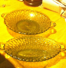 Vintage Green Glassware Glass Cranberry Dish and Butter Dish #196