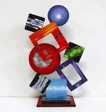 "Funky Vibrant Abstract Art ""Sensations"" Wood Table Sculpture with Metal accents"