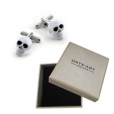 Mens White Skull With Black Crystal Cufflinks & GiftBox By Onyx Art