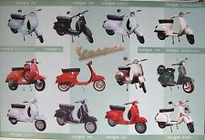 """VESPA """"12 CLASSIC MOTOR SCOOTERS"""" POSTER - Piaggio Italian Motorbikes"""