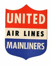 Vintage Airline Luggage Label UNITED AIRLINES MAINLINERS shield large die-cut