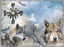 Gray Wolf wall clock   Makes gr8 gifts Handmade