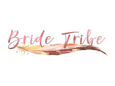 Bride Tribe tribal feather watercolour TEMPORARY TATTOO hen show party
