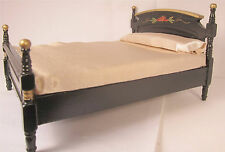 Dollhouse Furniture Bed Miniature Double Bed  Black Wood Bed