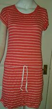 Ladies SIZE10 Stylish Short Sleeves COWL Neck Striped Cotton DRESS /TShirt /Top