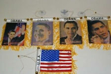 "Obama President USA Mini Flag 4""x6"" Window Banner w/ suction cup Wholesale Set"
