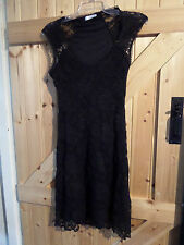 """Very Pretty Black Lacey Dress By Promod Size 8 Long Chest 32"""" Lace / Lined"""