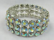 Silver Iridescent Rhinestone Crystal Stretch Bracelet #110 Wedding Prom Pageant