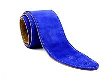 """Blue Real Suede Leather 2.5"""" Extra Wide Soft Acoustic Electric Bass Guitar Strap"""