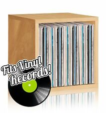 FREE SHIPPING  Vinyl Record Storage and LP Album Cube, Natural Wood Grain
