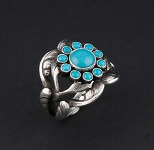 Georg Jensen Sterling Silver Ring # 10 with Turquoise. Design: GJ himself.