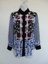 New PETER PILOTTO Multi Color Silk Printed Long Sleeve Top Blouse US 6 UK 10