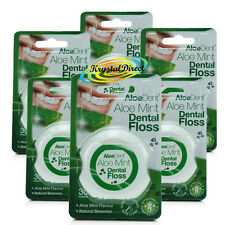 6x Aloe Dent Aloe Mint Dental Floss 30m coated with Natural Beeswax