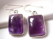 Amethyst Earrings 925 Sterling Silver Dangle Basic Rectangle Imported frm India