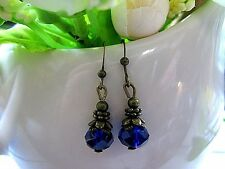 CRYSTAL Earrings COBALT BLUE Tiny glass faceted dangle drop ANTIQUED BRONZE