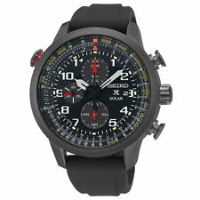 New Seiko Solar SSC371 Prospex Chronograph Black Rubber Strap Men's Watch
