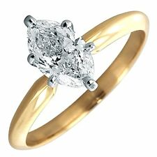 1.50 Ct Marquise Solitaire Engagement Wedding Promise Ring Real 14K Yellow Gold
