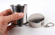 Stainless Steel Outdoor Camping Hiking Travel Folding Portable Mug Cup Keychain