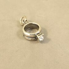 .925 Sterling Silver WEDDING/ENGAGEMENT RING CHARM Pendant Bride Stone 925 WD07