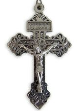 "Religious Keepsake 2 1/4"" Silver Behold This Heart Pardon Cross Crucifix Pendant"