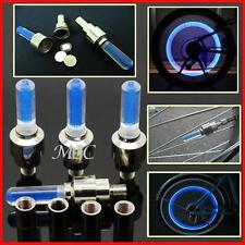 4 pieces Blue LED Light Valve Stem Caps Cover Motorcycle Bike Car Wheel Tyre ET
