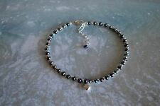 Peacock Blue Pearl & .925 Sterling Silver 3mm Bead Ankle Bracelet 9 to 11 inches