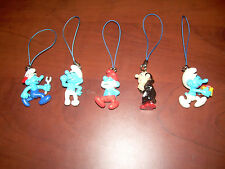 Lot of 5 Smurfs Cell Phone Charms Gargamel-Papa Smurf-Gift Present-Mecanic