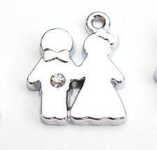 10 The Groom & Bride Wedding Crystal Rhinestone Silver Plated Charm/Craft K66