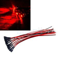 20pcs 3mm Red LED Bulb Lamp Light Set 20cm Pre Wired Cable 12V DC MA