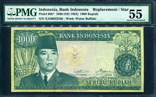 Indonesia 1960,Soekarno 1000 Rupiah, Replacement,star, P88b, WMK:buffalo,PMG 55