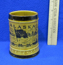 Vintage Alaska Ceramic Beer Stein Mug Cup Souvenir Totem Pole State Flag