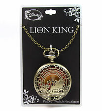 New Disney The Lion King Simba Pumbaa Timon Sunset Pocket Watch Pendant Necklace