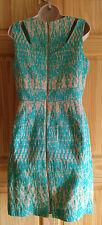 NWT Just Taylor Turquoise & Tan Textured Geometric Sheath Dress Sz 8