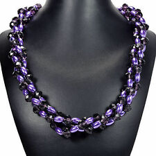 Purple Pearl & Crystal Necklace Handcrafted Plaited Jewellery UK Gift Idea