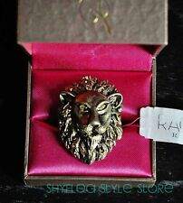 Rachel Roy Ring Bold LION Crystals Adjustable Cocktail Nickel Safe NEW