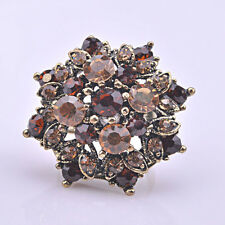 Dainty Ancient Bronze Plated Brown CZ Rhinestone Flower Adjustable Ring