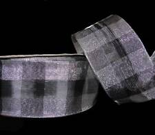 "5 Yards Silver Black Dashing Plaid Metallic Wired Ribbon 2 1/2""W"