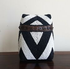 Basket, wood, beaded, black/white, decorative, tribal, medium, storage, decor