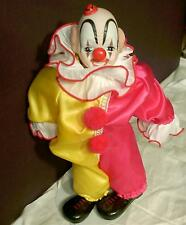 "Circus Clown Wind-up Porcelain Bisque Doll w Clothing 12"" Musical Music Box Rare"
