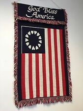 "36"" BETSY ROSS USA GOD BLESS AMERICA FLAG TAPESTRY wall hanging carpet rug G118"