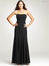 Ann Taylor Black Silk Vertical Panel Seamed Chiffon Strapless Gown 2 NEW A422