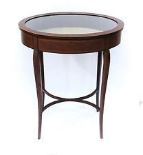 c.1900 Continental Oval Display Table w/ inlay wood design. Hinged lid w/ Glass